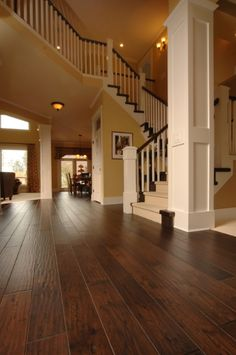 Beautiful handscraped engineered hardwood floors. Love it all.