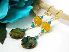 Blue Earrings Lampwork Earrings Gift for Her by BlondePeachJewelry