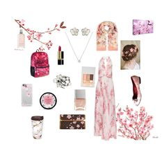 Cherry blossom inspired look by goddessofbacon on Polyvore featuring polyvore, fashion, style, Camilla and Marc, Louis Vuitton, Shaun Leane, Accessorize, Casetify, Paul & Joe, Revlon, L'Occitane, The Body Shop, Nails Inc., Tervis, women's clothing, women's fashion, women, female, woman, misses and juniors