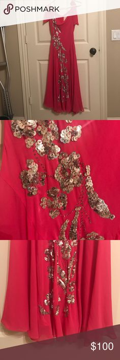 Pink sequin dress Pink max azria collection dress. Very flowy. Sequins and shoulder tie BCBGMaxAzria Dresses