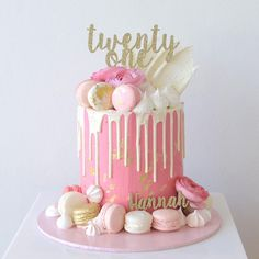 16th Birthday Cake For Girls, Girly Birthday Cakes, Birthday Drip Cake, Girly Cakes, Beautiful Birthday Cakes, Birthday Cake Decorating, Fancy Cakes, 21st Cake, Cupcakes