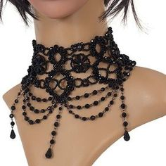 Exhilarating Jewelry And The Darkside Fashionable Gothic Jewelry Ideas. Astonishing Jewelry And The Darkside Fashionable Gothic Jewelry Ideas. Goth Jewelry, Beaded Jewelry, Vintage Jewelry, Handmade Jewelry, Fashion Jewelry, Jewellery, Gothic Chokers, Lace Necklace, Gothic Fashion