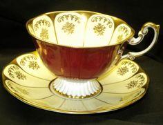 ROYAL-ALBERT-GOLD-GILT-CREAM-RED-PEDESTAL-VERY-WIDE-GRAND-TEA-CUP-AND-SAUCER