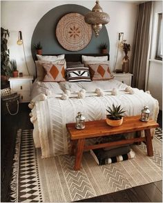 69 Best Bohemian Bedroom Ideas For Your First Apartment 15 - fancyhomedecors #bohemianbedroom#bedroom#bedroomideas Apartment Decoration, Design Apartment, Decoration Bedroom, Decoration Design, Diy Home Decor, Decor Room, Girls Apartment, Wall Decor, Bedroom Apartment