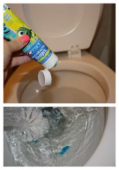 Toilet cleaning trick - toothpaste is made for cleaning the enamel on your teeth, so it also works really well to clean the enamel on your porcelain throne. Cleaning Tips and Life Hacks Bathroom Cleaning Hacks, Household Cleaning Tips, Deep Cleaning Tips, Toilet Cleaning, Cleaning Recipes, House Cleaning Tips, Natural Cleaning Products, Cleaning Solutions, Spring Cleaning