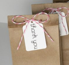 15 Thank You Eco Friendly Mini Paper Lunch Bag Wedding Favor Candy Treat Bags Tag Twine  (Gusseted) - You Pick the Color
