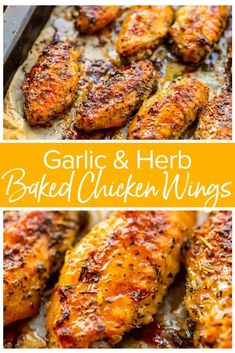 These crispy oven baked chicken wings are a perfect appetizer for a party, but also easy enough to make for a tasty midweek meal. This easy chicken wing recipe is a healthier alternative to the deep-f Crispy Baked Chicken Wings, Baked Chicken Meals, Oven Baked Wings, Oven Roasted Chicken Wings, Baking Wings In Oven, Garlic And Herb Chicken, Baked Chicken Fingers, Oven Wings Crispy, Bake Chicken In Oven