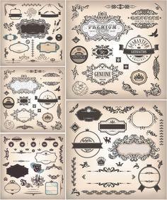 Ornate decorative frames and vintage elements #vector #DIY