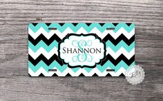 Custom License Plate - Stylish monogram on Tiffany blue and Black chevron, personalized front car tag on Etsy, $15.99