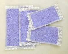Dolls House Miniature 1:12 Bathroom Accessory Set of 4 Lilac Lace Edged Towels