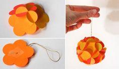 ornements de sapin de Noël en papier orange