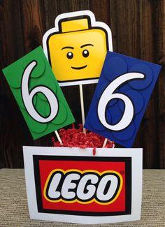 Lego Party Centerpiece - Lego Birthday Decorations by DoItAllDiva on Etsy https://www.etsy.com/listing/234539964/lego-party-centerpiece-lego-birthday
