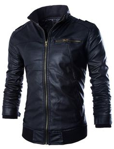 PU Leather Stand Collar Horizontal Zipper Epaulet Rib Spliced Long Sleeves Slimming Jacket For Men