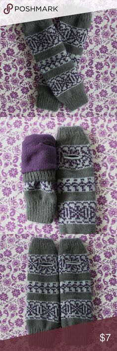 Extra thick hand warmers Grey, purple, and light blue geometric print hand/wrist/arm warmers. Super warm purple fleece lining  inside. Fingerless gloves. Accessories Gloves & Mittens
