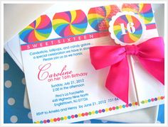 Handmade Invite Candy Invite Candyland Invite Candy Land Party