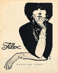 PUBLICITE ADVERTISING 044 1960 FILEX gants par RENE GRUAU in Collections, Objets publicitaires, Publicités papier | eBay