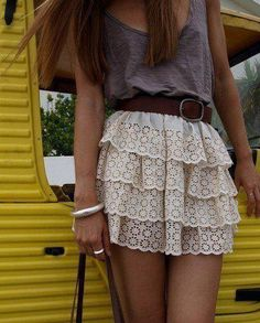 i love the tiered ruffle skirt and the simple gray shirt together. The belt just brings the whole outfit together, giving it life. -summer