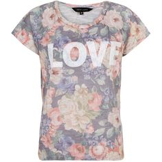 Grey Love Floral Print T-Shirt (425 INR) ❤ liked on Polyvore featuring tops, t-shirts, shirts, blusas, t shirt, floral print shirt, gray shirt, floral t shirt and cap sleeve t shirt