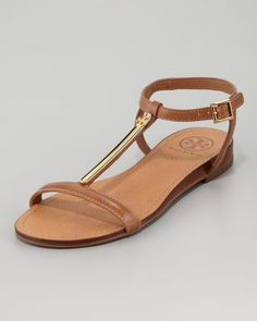 Tory Burch Pacey Gold-Bar Flat Sandal - Neiman Marcus - Tan or black?