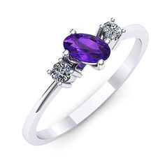 Inel de logodna din aur alb, cu ametist oval si doua diamante Aur, Sapphire, Romance, Rings, Jewelry, Jewellery Making, Jewerly, Jewelery, Ring