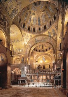 [Unknown, Interior of Saint Mark's, Venice, Italy, begun 1063. Middle Byzantine Art] We can see an impact of West and East on the architectural form of the church when it was rebuilt for the third time in 1603. The overall architectural form of the Greek-cross is inspired in the Byzantium, the treatment of the raised chancel at the eastern end is comparable to an Occidental basilica building; with a presbytery containing the high altar and the presence of two apsidal side chapels. (Hopkins…