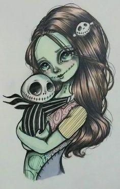 Holding my Bone Daddy Sally Nightmare Before Christmas, Arte Disney, Disney Art, Disney Drawings, Cute Drawings, Tim Burton Kunst, Jack Y Sally, Desenhos Halloween, Jack Tattoo