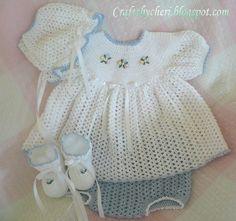 Newborn Size Dress, Panties, Booties, Bonnet.