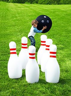 """HearthSong Giant Bowling Game, Inflatable - Classic Red, White, and Black - 29""""H HearthSong® http://smile.amazon.com/dp/B005OLZF3W/ref=cm_sw_r_pi_dp_-Jzdxb0YHDCK5"""