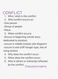 Conflict checklist Helps establish plot before writing by establishing conflict details