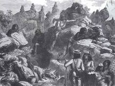 Modoc Indians in the lava beds awaiting the attack. Photo from the book, Encyclopedia of American Indian Wars, by Jerry Keenan.