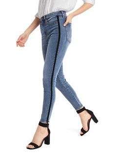 Jeans with velvet stripe, high rise skinny jeans