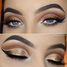 This is the right choice for eye shadow. The opposite is the color of the eyes, metallic shades refreshes look and eye is beautiful contoured with eyeliner and dark shadow.