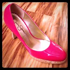 GORGEOUS JESSICA SIMPSON Cork platform heels Spectacular, red patent leather and cork heels. Great condition. They have been worn but in excellent condition. Jessica Simpson Shoes Heels