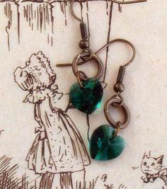 Emerald Heart Earrings Swarovski Cut Crystal by RoseCottageVintage, $11.99