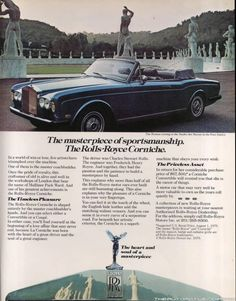 Hi, post old car paper advertisements here. Am starting with sierra ad ! Rolls Royce Coupe, Bentley Rolls Royce, Rolls Royce Cars, Vintage Advertisements, Vintage Ads, Convertible, Rolls Royce Corniche, Bentley Car, Car Advertising