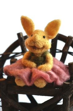 Needle Felted wool BUNNY RABBIT by Teresa Perleberg