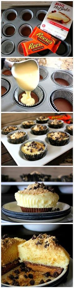 Reese's Bottom Cheesecake Cupcake. One bag of Snack Size Reese's and one box Jello No Bake Cheesecake makes one dozen. Köstliche Desserts, Delicious Desserts, Yummy Food, Plated Desserts, Simple Dessert Recipes, Delicious Cupcakes, Delicious Chocolate, Sweet Desserts, Think Food