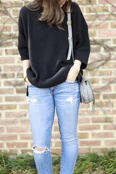 Ripped Jeans + Black Sweater