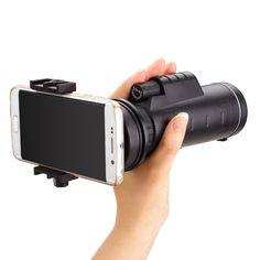 Universal 10x40 Hiking Concert Camera Lens Monocular+Phone Holder For Smartphone