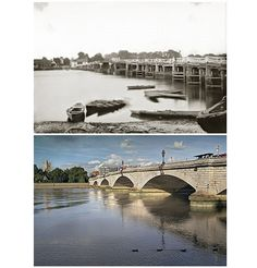 Top: Old Putney Bridge (1875), reproduced by permission of English Heritage. Bottom: New Putney Bridge (1999-2007) © Graham Diprose & Jeff Robins. The old bridge was damaged by a barge in 1870 and the new bridge built 100 yards upstream in 1872.