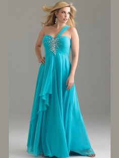 One Shoulder Empire Night Moves Plus Size Prom Dress 6376W: DressProm.net