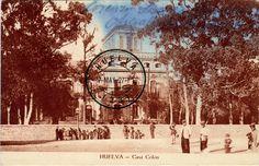 Postales de Huelva: Casa Colón La Casa Colón es un edificio histórico municipal de la ciudad de Huelva (España). Actualmente se utiliza como palacio de congresos y centro de exposiciones. Se encuentra catalogada por la Junta de Andalucía con carácter genérico en el Catálogo General del Patrimonio Histórico Andaluz.