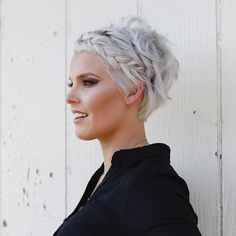 short grey pixie hair with braid bmodish