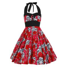 Skulls Roses Dress Rockabilly Dress Halloween Dress Gothic Dress Day Of The Dead…