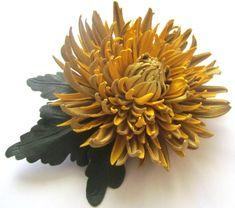 Genuine leather flower brooch in yellow Brooch by JewelryWithTaste