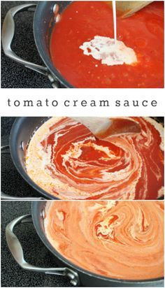 with Tomato Cream Sauce Tomato cream sauce for pasta recipe. It has the word cream in the title.of course I'm pinning it!Tomato cream sauce for pasta recipe. It has the word cream in the title.of course I'm pinning it! Cream Sauce Recipes, Pasta Sauce Recipes, Easy Pasta Recipes, Cooking Recipes, Rose Sauce Recipe, Sauces For Pasta, Recipe Pasta, Cheese Tortellini Recipes, Tomato Recipe