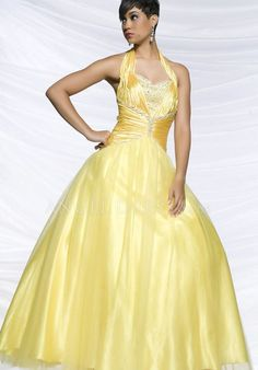 Natural Waist Ball Gown Taffeta Halter Floor Length With Beading Prom Dress