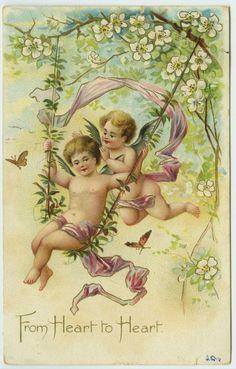 Tuck UDB Valentine Greeting Cupids Swinging on Vines Butterflies Postcard | eBay