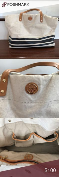 Tory Burch Tote Tory Burch tote with a very nautical look. Canvas with navy stripes- perfect summer/vacation bag! 1 supper compartment and 2 pockets inside for storage. Tory Burch Bags Totes