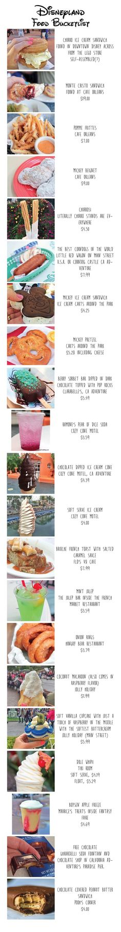 Disneyland Food Bucketlist